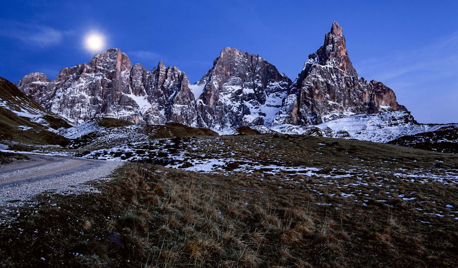 The Moon: the Sun of the night. Sky Nature No People Outdoors Night Mountain Galaxy Winter Snow Adventure Mountain Peak Landscape Alps Beauty In Nature Travel Destinations Day Light Moon Moonlight Blue Hour in Trentino  Trentino Alto Adige Dolomites, Italy Pale Di San Martino