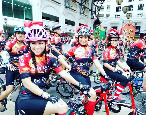 Bicycle Sports Helmet Headwear Activity Transportation Portrait Cycling Helmet Cycling Front View Sport Outdoors Women Building Exterior Friendship Group Of People Helmet People Real People Day Adults Only