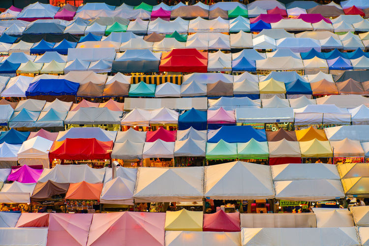 Full frame shot of multi colored tents