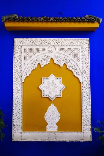 Art And Craft Architecture Blue No People Pattern Yellow Built Structure Day Indoors  Clear Sky Close-up Marroco Majorelle Jardin De Majorelle Paint The Town Yellow