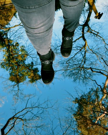 Goodday Mart Güzel Mevsim Prilaga Happy Ilkbaharda Sıcaklık Springtime Mutluluk Spring Ilkbahar Ilkbahargeliyor NİSAN Doğa Low Section Puddle Water Standing Men Human Leg Shoe Reflection Tree Walking