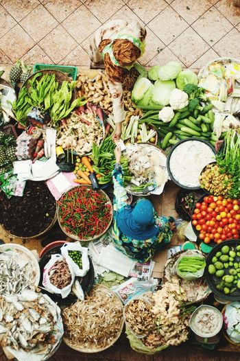 High Angle View Of Various Vegetables On Display At Market