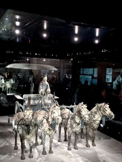 Ancient Artifact Burial Chariot Chinese Funeral History Horse Illuminated Night Terra-cotta Warrior