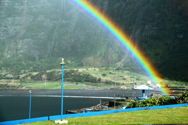 Rainbow Flores Island Azores Faja Grande Resort Contrasting Colors No People Dramatic Mountainview Seaside Picknicktables Waterfalls And Calming Views  Protected Area No Edit/no Filter Beautifully Organized