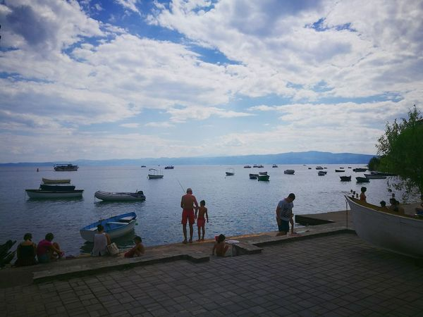 Father and son fishing Ohrid Lake Ohrid Macedonia Lake Lake View Father Son Father & Son Fishing People Travel Traveling Trip Tranquility Cloudy Clouds Clouds And Sky Boats Huawei P9 Oo