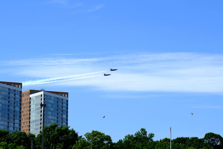 Low angle view of airplanes flying in sky over city