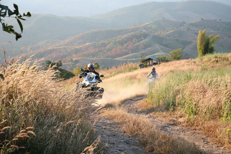 People riding motorcycle on land