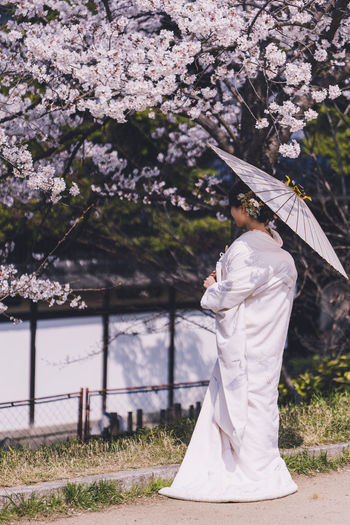 Low section of woman standing by cherry blossom tree