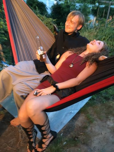 FestFriends Laughing Hammock Real People Leisure Activity Two People Lifestyles Outdoors Casual Clothing Togetherness Tree Full Length Young Women Young Adult Nature Grass Day EyeEm Ready   EyeEmNewHere Fashion Stories
