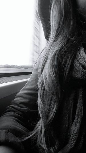 Travelling Travel Black And White That's Me Train Travel Photography Hairstyle Passing By Passanger Waiting Long Hair Dreaming Whatcouldbe Wheretogo Where To Go What To Do Where To Next?