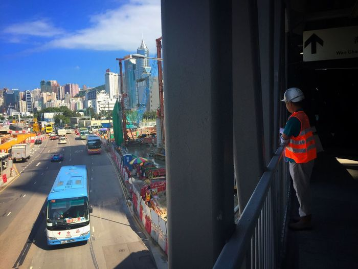 Transportation City Mode Of Transport Land Vehicle Development Day Cityscape IPhoneography Tsuistyle Photography HongKong Hong Kong IPhone Photography Tower Bridge Worker Street Overlook Metropolis Architecture City Development Construction Worker Bright And Dark Contrast Shadow And Light