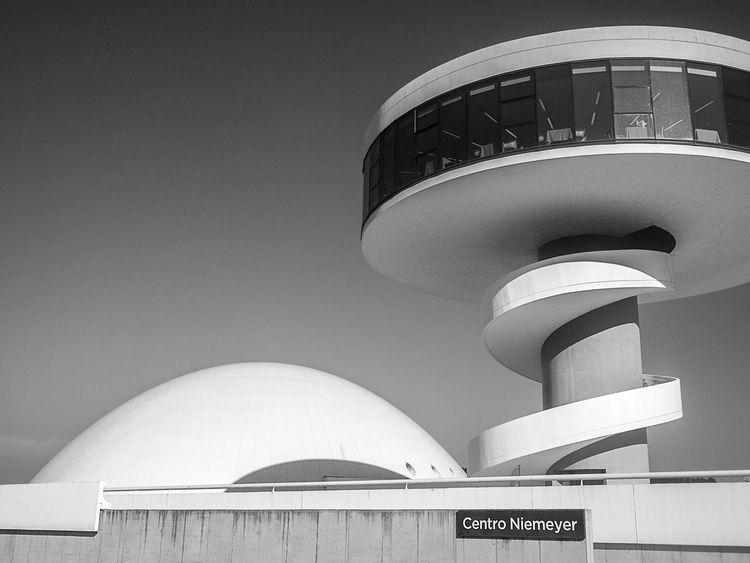 Arch Architectural Feature Architecture Aviles Asturias Spain Avilés Blue Building Built Structure Centro Niemeyer City Curves Day Exterior Flying Saucer High Section Low Angle View Minimalism Minimalobsession Modern Niemeyer Center No People Outdoors Monochrome Photography The Architect- 2016 Eyeem Awards The Architect - 2016 EyeEm Awards
