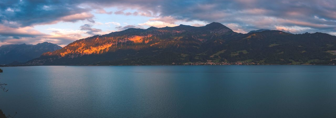 Switzerland, Lac de Thoune. Summer 2018. Panorama Panoramic Lake Swiss Switzerland Summer Lake Mountain Peak Reflection Panoramic Sky Landscape Pine Tree Romantic Sky Rocky Mountains Atmospheric Mood Foggy Dramatic Sky Snowcapped Mountain Idyllic Moody Sky Spruce Tree EyeEmNewHere