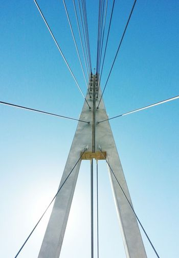 Fuengirola's bridge Connection Cable Low Angle View Clear Sky Outdoors Sky No People Minimal Architecture Built Structure City Bridge Estructures Steel Cable Engineeringstructures FUENGIROLA  Puente