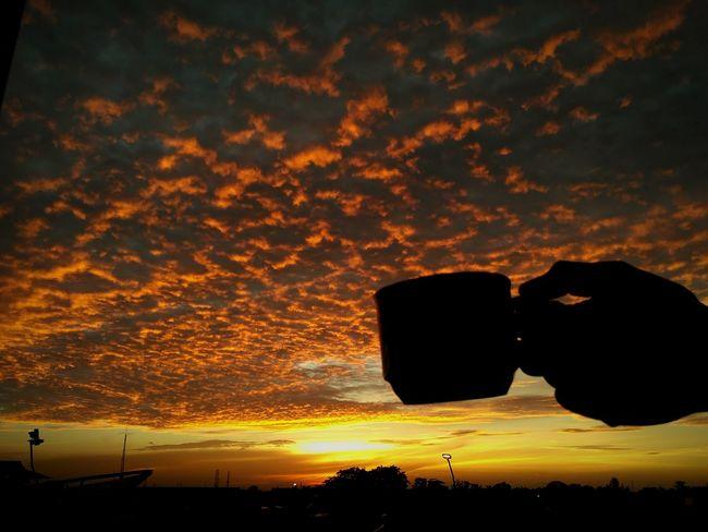 coffee sunrise Coffeeadict Sunset Silhouette Orange Color Dramatic Sky Scenics Beauty In Nature Sky