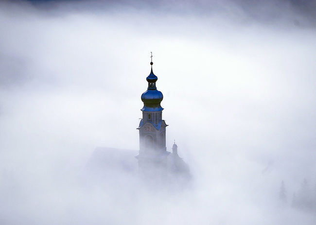 Mountain Range Cool Church Fog Architecture Outdoors No People History Building Exterior Travel Destinations Sky