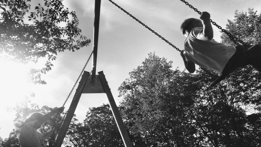 Playground Outdoors Black And White Motion Tree Sky Swing