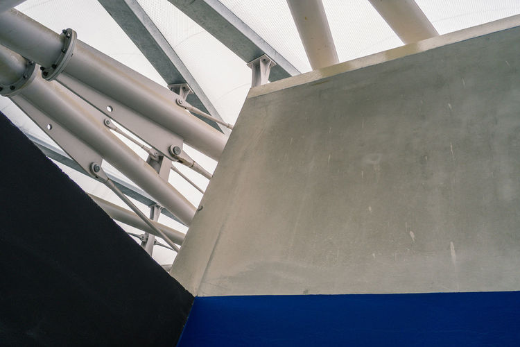 Abstract Architectural Column Architectural Feature Architecture Blue Building Built Structure Column Confluence Day Diminishing Perspective Low Angle View Lyon Lyon Confluence Modern No People Quick & Dirty Repetition Sky Urban Geometry Urbex Urbexphotography