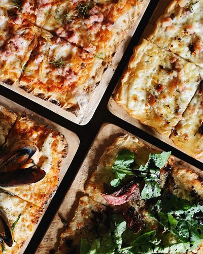Baked Close-up Day Fast Food Flatbread  Food Food And Drink Freshness High Angle View Ice Cream Parlor Indoors  Italian Food No People Pizza Ready-to-eat Table Take Out Food