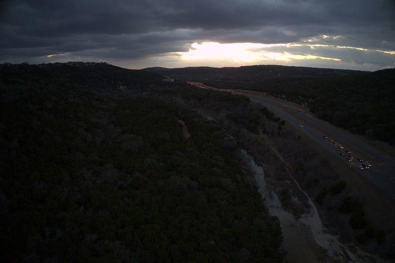 Austin Austin Texas Austin, TX Cars Cloudy Hills Scenic Storm Texas Traffic Aerial Aerial Photography Bridge Forest Highway Landscape Scenics Sky Stream Sunset