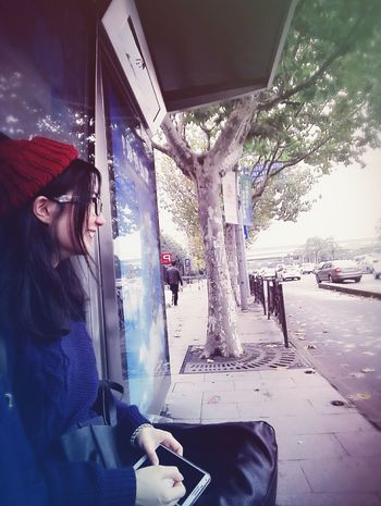 waiting for 🚗🚃🚕 Bus Station Street Leaves Autumn Redhat That's Me Smile ✌ Shanghai Showcase: November