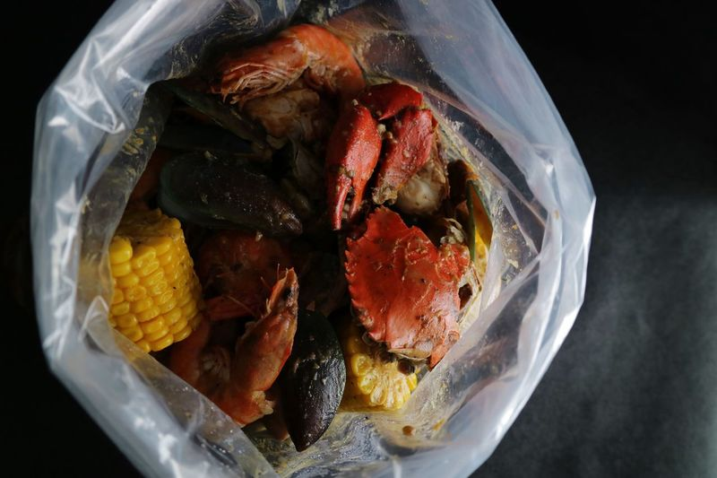 Seafood Bag Philippines Manila Erikawong EyeEmNewHere Ocean Sea Feast Course Meal Dinner Lunch Seafoods Food Food And Drink Plastic Freshness Indoors  Close-up Still Life No People Ready-to-eat Healthy Eating Directly Above Bag Bowl Seafood Plastic Bag