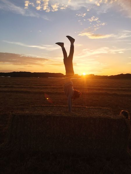 Sunset Hand Stand  Hay Bales Dell Quay Chichester Harbour Uk Summer