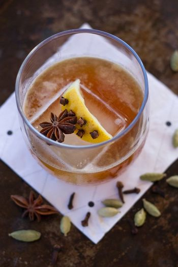 """""""Eastern Prospector"""" cocktail with chai tea infused whiskey. Autumn Close-up Cocktails Drink Drinks Food And Drink Food Photography High Angle View Spices Star Anise"""