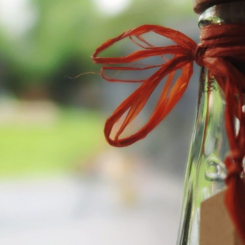 Close-up Focus On Foreground No People Freshness Day Red Indoors  Food Nature Vinegar Bottle Still Life Raffia Bast Gift Tied Knot Tied Bow Ribbon Ribbon - Sewing Item Loop Selective Focus Glass Glass - Material