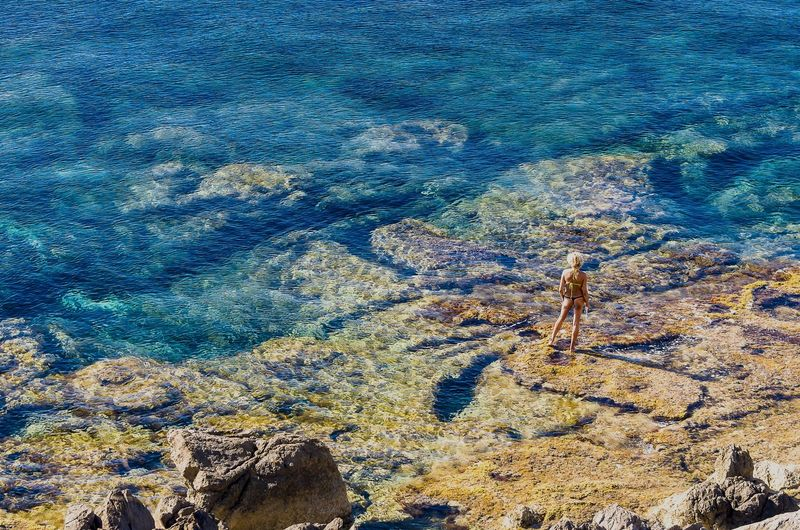 Beauty In Nature Bikini Holiday Landscape Mediterreansea Nature Rock Sea Summer Tranquil Scene Vacation Water Women