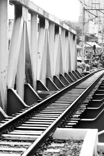 Empty railway bridge in the central of Jakarta Architecture Architecture_bw Black & White Blackandwhite Connection Depth Of Field Engineering Exterior Jakarta Metal Pattern Railway Repeat Repetition StandStrong Structure