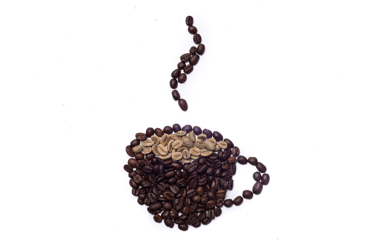 studio shot, white background, roasted coffee bean, indoors, still life, food and drink, coffee - drink, coffee, no people, close-up, large group of objects, freshness, brown, copy space, high angle view, food, drink, refreshment, cup, roasted, caffeine