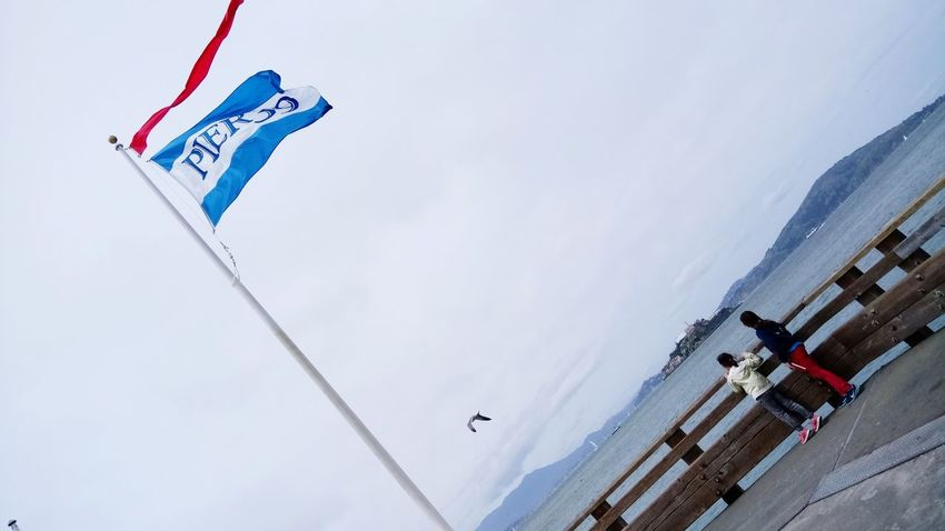 EyeEm Selects Flying Sky People Day Outdoors Pier 39 Wind Flag Alcatraz In Sight
