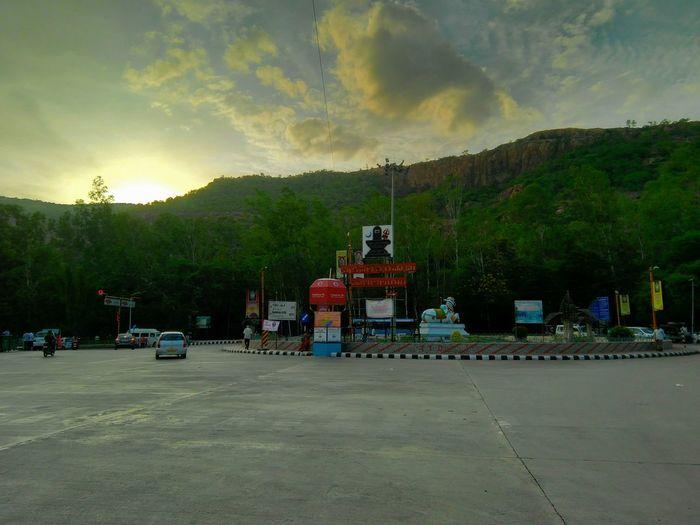 Sunset No People Outdoors Sky Clouds Nandi Statue Evening Phonephotography📱 Roundabout Traffic Tirumala Tirupati Tree Night Nature Oil Pump