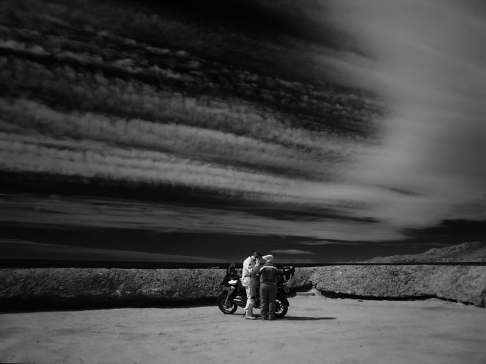 Beauty In Nature Bicycle Biker Cloud - Sky Couple On Motorcycle Day Full Length Land Vehicle Lifestyles Men Mode Of Transport Motorcycle Nature Outdoors People Real People Rear View Riding Scenics Sitting Sky Togetherness Transportation Two People