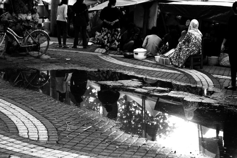 StreetActivity Streetphotography Blackwhite Blackwhitephotography Humaninterestphotography Banjarmasin Outdoors People Reflection