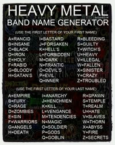 LOL Heavy Metal Generator Whats Yours