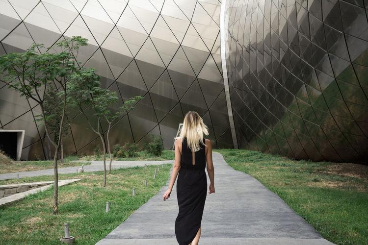 Walk in Tbilisi Architecture Black Dress Blonde Catwalk Grass Linas Was Here Modern Walk Female Model Metal Park Pathway Urban