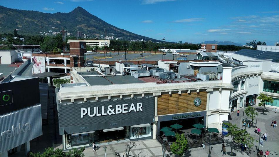 Beautiful El Salvador Plaza La Gran Via. Volcano Volcán Montains    Montanas Sky Landscape Amazing Beautiful Day
