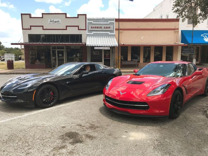 Corvette Stingrays in Lockhart, TX My Dad's Vette is the black one. His gift to himself. Sweet Ride New Toy Boys And Their Toys Corvette Chevrolet Corvette Stingray Stingray My Dad 2018 Corvette Mode Of Transportation Transportation Motor Vehicle Car Land Vehicle Architecture Built Structure Building Exterior City Street Day Outdoors Parking