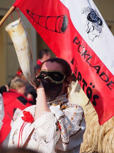 Adult Adults Only Busojaras Busó Busójárás Mohács Carnival Carnival Crowds And Details Day Indoors  Mask Mask - Disguise Masked One Person People Red Stage Costume Szép Busó Venetian Mask