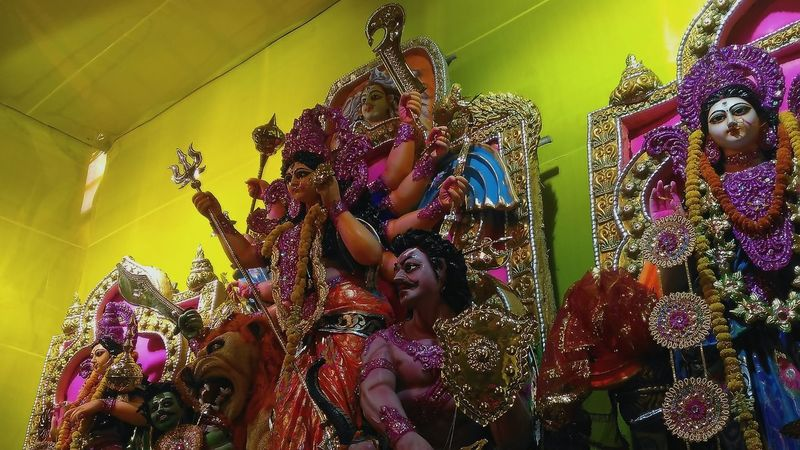 Human Representation Tradition Multi Colored Celebration Cultures Indoors  Art And Craft Ornate Decoration No People Colorful Man Made Object Festival Season Vibrant Color Religion Bengali Hinduism Gods