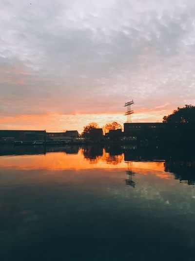 Sky Water Reflection Sunset Cloud - Sky Orange Color Nature Beauty In Nature No People Idyllic Tranquility Scenics - Nature Symmetry Outdoors Waterfront Tranquil Scene