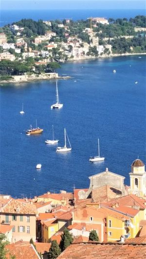 France Photos Holidays Lovely Place Roof Tops, Chimney Tops Villefranche-sur-mer Architecture Bay Beutiful Day Brick Houses Building Exterior Built Structure City Day High Angle View Mode Of Transportation Nature Nautical Vessel No People Outdoors Sailing Boat Sea Ship Summer Transportation Water