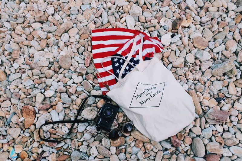 Many things from many land Rock Flatlay Forthofjuly American Flag American Text Communication No People Patriotism Day Red Close-up Outdoors