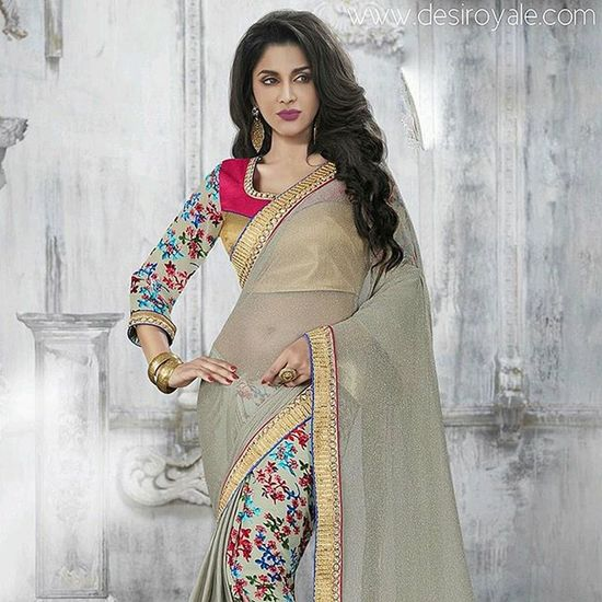 www.desiroyale.com Check out our Beautiful Embroidered Designer  Saree at www.desiroyale.com Freeshipping Desi Punjabi Wedding Weddings Jewelry Accessories Picoftheday Photooftheday Instagood Instacool Sardarni Jatti Bride Indianbride Sangeet Burningman Online  MustHave Trend Buy gold shopping embroidery cream