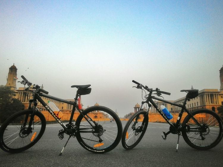 Two Is Better Than One Bicycle Clear Sky Outdoors Tranquil Scene Tranquility Healthy Lifestyle Cycling Around Cyclephotography Sportlife IndiaTrail DelhiStreets Morningrides