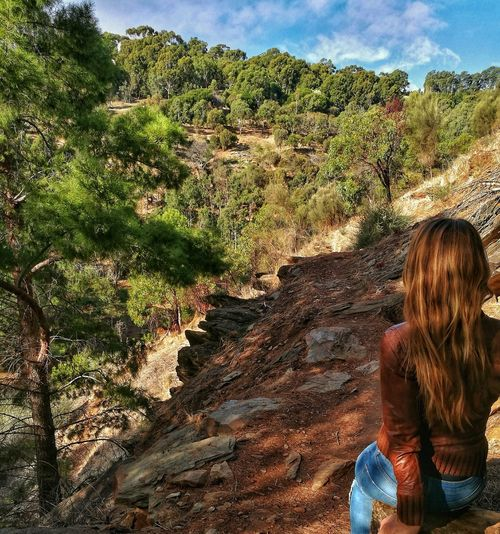 Girl looking in nature Beauty In Nature Nature One Person Leisure Activity Outdoors Young Women Tree Forrest Sky Adelaide South Australia Hills And Valleys View