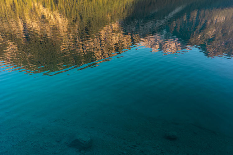 Mountain reflections in a lake Water Beauty In Nature Tranquility Blue Scenics - Nature Tranquil Scene Day Nature Reflection No People Waterfront Lake Idyllic Outdoors High Angle View Underwater Turquoise Colored Non-urban Scene Clean