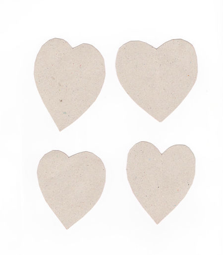 Directly above shot of heart shape on white background